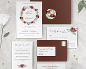 Maroon Red Wedding Invitation Set, Burgundy Flower Wedding Invitations with Belly Band and RSVP, Botanical Wedding Stationery Rustic Pink