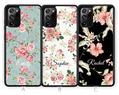 Personalised Note 20 Case Custom Note 20 Ultra Case Floral Flower Samsung Galaxy Note 20 Initials Name Samsung Case Rubber Phone Case Blue