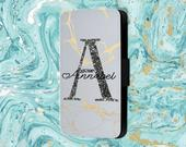 Personalised Marble Gold Swirl Name And Initial Phone Flip Case For iPhone Samsung Huawei Sony LG