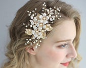 Floral Hair Comb, Bridal Hair Comb, Wedding Headpiece, Bridal Pearl Hair Piece, Leaf Hair Comb, Wedding Crystal Headdress, Hair Accessories