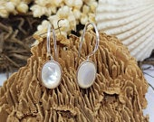 Silver Dangle Earrings With White mother of Pearl, silver earrings dangle, shell Silver Earrings, drop earrings, silver earring hooks