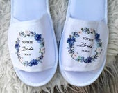 Personalised Bride / Bridesmaid Slippers, Hen Party Slippers, Wedding Slippers, Bridal Party Slippers, Maid of Honour Slippers