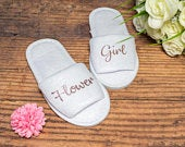 Kids Flower Girl Slippers Personalised Wedding Slippers Bride slippers , Bridesmaid Gift, Bridal Party , Hen Weekend Open Toes Spa Slippers