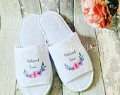 Bridesmaid Slippers, Personalised Slippers, Bride to be Gifts, Bridal Party Gifts, Bride Slippers, Flower Girl Slippers, Spa Slippers