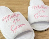 Mother of the Groom Slippers Personalised Wedding Slippers Bride, Bridesmaid Gift, Bridal Party, Hen party Open Toe Spa Slippers 28 colours