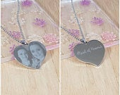 Engraved Necklace, Photo Pendant Large Heart with Chain Personalised Mothers Day Present, Birthday Gift, Valentines Gift for Her