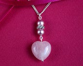 Valentines day gift, heart shaped rose quartz pendant necklace, pink natural gemstone and Swarovski pearls drop silver chain necklace