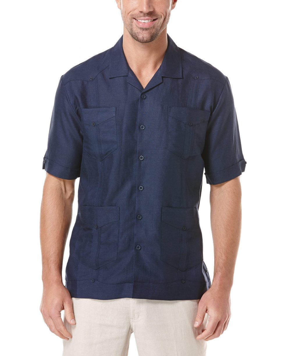 Cubavera Men's Big & Tall Classic Guayabera Shirt (Dress Blues) - Size 4X