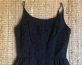 Vintage 1950s 1960s PinUp MadMen Little Black Beaded Wiggle Dress with Spaghetti Straps, Size XS