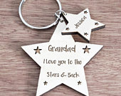 Gift for daddy, gift for dad, gift for husband, Fathers Day gift, dad birthday, personalised keychain, daddy gift, daddy keyring Moon Back