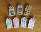 Rustic Painted key rings for Mum Dad, decorated MDF blanks, ready to use, Dads Shed, Mums keys. Decorated keychains, pocket money gift