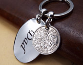 DAD 1960 Lucky Sixpence British Coin Keyring 60th Birthday Gift Metal Keepsake Keychain For Men Father Daddy Da Fathers Day Gift Idea