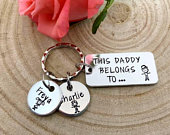 Daddy Gift, This Daddy Belongs To..., Daddy, Dad Keyring Keychain, Hand Stamped Personalised, Fathers Day Gift, Daddy, Father, Grandad Gift