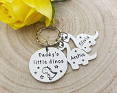 Daddy Gift, Daddys Little Dinos, Dinosaur Keyring, Dad Keyring Keychain, Hand Stamped Personalised, Fathers Day Gift, Father, Grandad Gift
