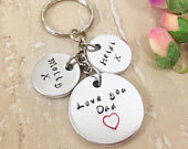 Personalised fathers day keyring with childrens names, personalised Dad gifts, birthday gift for dad, personalised Dad keychain,