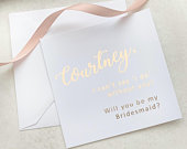 Personalised foil will you be my Bridesmaid Proposal Card 5x5 inch wedding card in rose gold, silver, gold or light pink foil