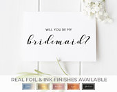 Will You Be my Bridesmaid Card, Bridesmaid Proposal, Bridesmaid Request, Bridesmaid Card, Rose Gold Wedding Card, Foil or Black Ink, D26