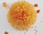 APRICOT Paper pom poms Orange party decor Autumn decorations