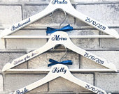 Personalised Bridal Hangers, White Wooden Hangers, Bridal, Wedding Hangers, Bride, Bridesmaid, Flower Girl, Maid of Honour