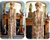 Vintage 1930s 1920s Downton Abbey Chiffon Silk Beaded Hydrangea Cream Gold Floral Day Garden Cocktail Tea Dress Gown Size UK 12 US 8