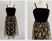 True Vintage (8/10) Maria Capitani Black Velvet Gold Floral Netted Occasion Christmas Party Evening Event Prom Midi Dress Size UK 8/10 S