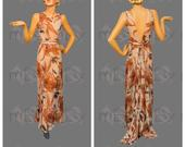 Fabulous 1930s Silk Chiffon Full Length Gown Dress with Brown Floral Print, Deep V Back, Train, Original Belt