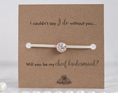 Chief bridesmaid gifts for bridesmaids, Will you be my chief bridesmaid proposal, maid of honor and flower girl bracelets on Kraft card