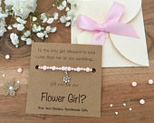 Pink Pearl Bracelet, Boho Bridesmaid, Barn Wedding, Flower Girl Gift Box, Bridesmaid Jewelry, Fall Wedding, Will You Be My, Flower Girl