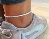 White Anklet/Ankle Bracelet, Boho Anklet, Beach Jewellery, Surf Jewellery, Bridal Jewellery, Summer Style, White Jewellery, White Beads