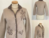 Vintage 1950s Jacket Cardigan English Wiil Fine Jersey Knit 50s Chic Country Lady