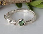 Green Tourmaline and Brown Diamond Twig RingAlternative Engagement RingSilver Organic Willow Ring