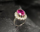 Pink Victorian Ring, Created Alexandrite, Engagement Ring, Pink Diamond Ring, Princess Diana Ring, Royal Ring, Pink Ring, Solid Silver Ring
