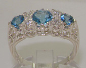 9K English White Gold Natural Blue Topaz Diamond Victorian Filigree Style Engagement Ring Made in England Customizable