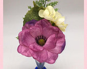 Purple silk poppy anemone brooch pin corsage buttonhole wedding guest mother of the bride grandmother aunt sister in law bridal party