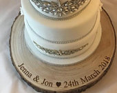 Personalised XL wood slice cake stand or centrepiece. 45cm