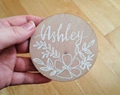 Wooden circle place cards rustic wedding place names handmade place settings
