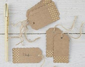 10 Kraft and Gold Place Cards, Wedding Place Cards, Rustic Place Cards, Rustic Country Wedding, Kraft Luggage Tags, Wedding Favours