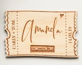 Ticket Place Cards, Wooden Wedding Place Cards, Escort Cards, Thanksgiving Place Cards, Calligraphy Place Cards, Rustic Place Cards