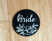 Wooden circle place cards rustic wedding place names chalkboard pretty place settings, handmade blackboard place cards