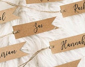 Rustic Kraft Simple Flag Shaped Place Card Tag Strung with Twine Wedding Place Card, Favour Tag, Wedding Decor