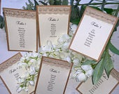 Wedding Seating Plan Cards Ready for you to mount on mirror/board or place in stands Rustic Pearls Lace