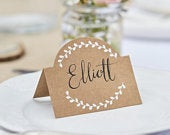 10 Kraft and White Place Cards, wedding Place Cards, Beautiful Botanics, Kraft Place Cards, Boho Wedding, Rustic Wedding, Vintage Wedding