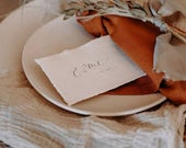 Large boho wedding place cards with grey ink, personalised calligraphy escort cards, neutral wedding dcor, recycled modern rustic wedding
