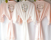 Personalised Robes, Bridal Robes, Bridesmaid Dressing Gowns, Foliage Floral Greenery Wedding Robe, Satin Wedding Robe, Lace Sleeves Detail