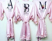 Wedding dressing gown robe, bride satin robe, bridesmaid dressing gown