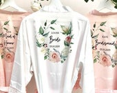 Bridal Robes, Bridesmaid Gifts, Personalised Bridesmaid Robe, Wedding Robes, Dressing Gown, Satin Robe With Lace Trim, Bridesmaid Proposal
