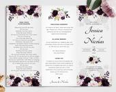 Trifold Wedding Program Template with Purple Roses, Dark Plum Wedding Program INSTANT DOWNLOAD Editable, Printable Template, A119