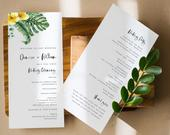 Tropical Wedding Program Template, Wedding Program Printable, TEMPLETT, Printable Ceremony Program, Order of Service Program, DENISE
