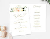 Wedding Program Printable, Foldable Program Template, Order of Service Editable, Blush Cream Floral, BC02, Wedding Ceremony Program