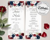Editable Burgundy/Navy Blue Wedding Program Template, Marsala/Navy Blue Wedding Program INSTANT DOWNLOAD Editable, Printable Template